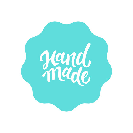 Illustration for Vector label and badge with hand-lettering type - handmade stamp for homemade products and shops - Royalty Free Image