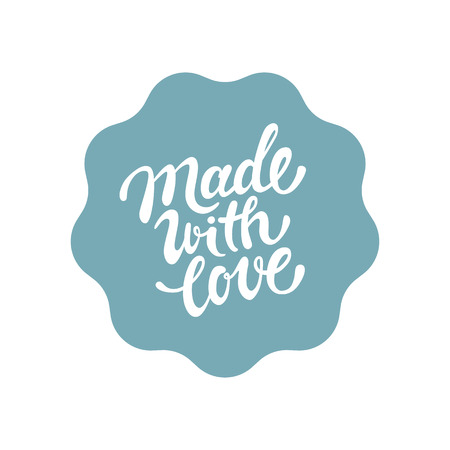 Illustration for Vector label and badge with hand-lettering type - made with love stamp for homemade products and shops - Royalty Free Image