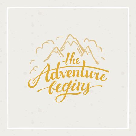 Ilustración de The adventure begins - vector hand drawn travel illustration for t-shirt print or poster with hand-lettering quote - Imagen libre de derechos