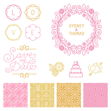 Illustration pour Vector set of design elements, hand-lettering, icons and seamless patterns - image libre de droit