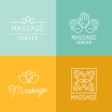 Illustration pour Vector set of trendy linear icons and  design elements related to massage centers and relax - mono line signs and concepts - image libre de droit
