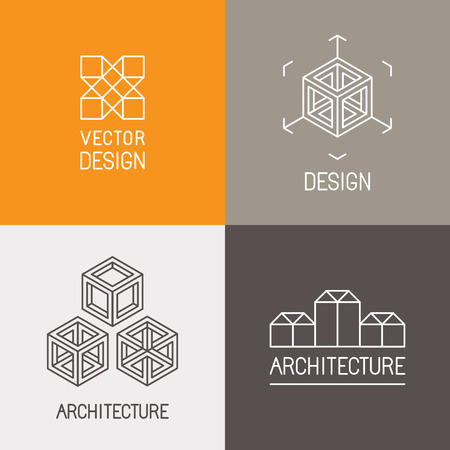 Ilustración de Vector set design templates in trendy simple linear style - emblems and signs for architecture studios, object designers, new media artists and augmented reality start-ups - Imagen libre de derechos