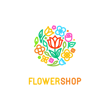 Illustration pour Vector simple and elegant   design template in trendy linear style - abstract emblem for floral shop or studio, wedding florist, creator of custom floral arrangements or landscape designer - circle made with flowers and leaves in bright colors - image libre de droit