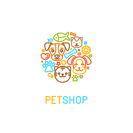 Illustration pour Vector   design template for pet shops, veterinary clinics and homeless animals shelters - circle made with mono line icons of cats and dogs - badge for websites and prints - image libre de droit