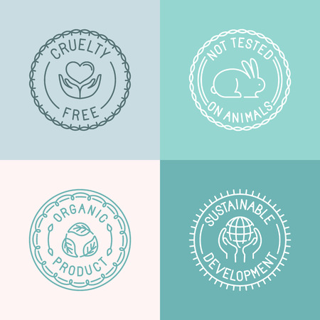 Ilustración de Vector set of badges and emblems in trendy linear style for organic and natural cosmetic packaging - cruelty free, not tested on animals, organic product, sustainable developments - Imagen libre de derechos