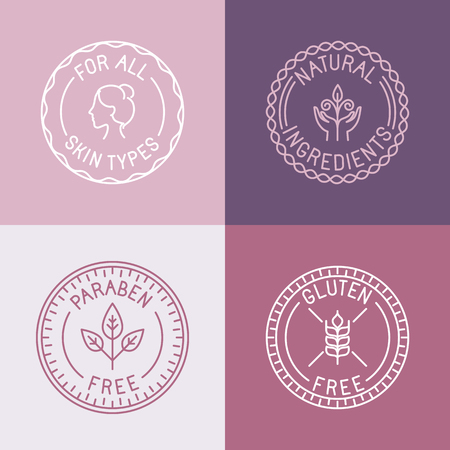 Ilustración de Vector set of badges and emblems in trendy linear style for organic and natural cosmetic packaging - for all skin types, natural ingredients, paraben free, gluten free - Imagen libre de derechos