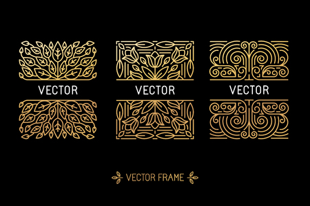 Ilustración de Vector set of linear frames and floral backgrounds with copy space for text - abstract labels for packaging and stationery in vintage hipster style - Imagen libre de derechos