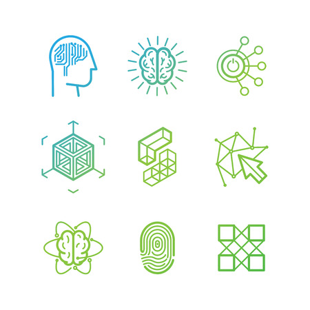 Illustration pour Vector logo design templates and icons in trendy linear style - virtual reality, brainstorming, three-dimensional projection, new media art - abstract technology concepts - image libre de droit