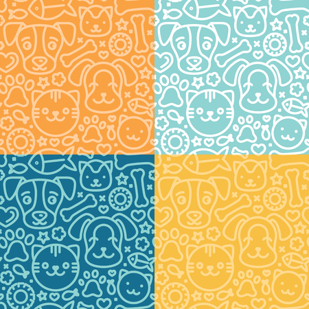 Vector set of seamless patterns and backgrounds with trndy linear icons related to pets and animals - abstract backgrounds for pet shop websites and prints