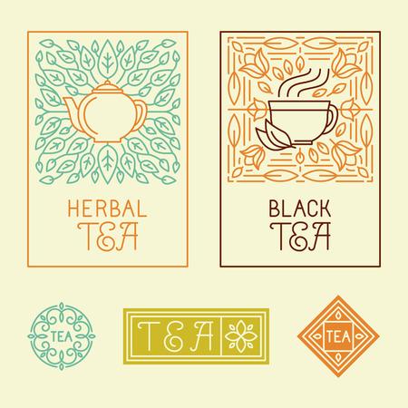 Ilustración de Vector tea packaging labels and badges in trendy linear style - icons and badges - organic herbal and black tea - Imagen libre de derechos