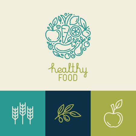 Ilustración de Vector logo design template with fruit and vegetable icons in trendy linear style - abstract emblem for organic shop, healthy food store or vegetarian cafe - Imagen libre de derechos