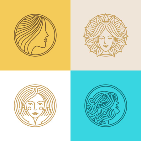 Illustration pour Vector set of logo design templates and abstract concepts - woman faces and portraits on circle badges in trendy linear style - beauty symbols for hair salon or organic cosmetics - image libre de droit