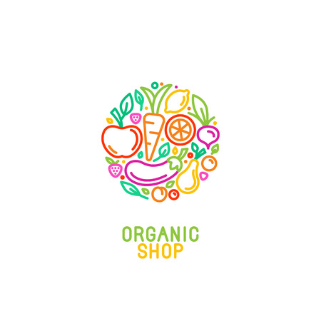 Illustration pour Vector logo design template with fruit and vegetable icons in trendy linear style - abstract emblem for organic shop, healthy food store or vegetarian cafe - image libre de droit