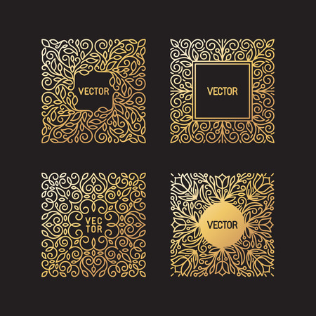 Illustration for Vector set of linear frames and floral backgrounds with copy space for text - abstract labels for packaging and stationery in vintage hipster style - in golden style on black background - Royalty Free Image