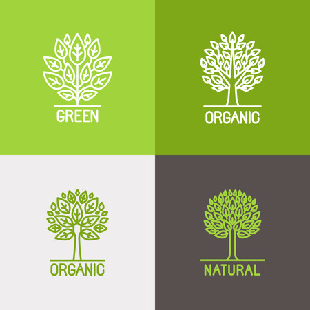 Photo for Vector set of linear icons and logo design elements in trendy mono line style - growth concepts, business emblems and signs - tree and bush labels - Royalty Free Image