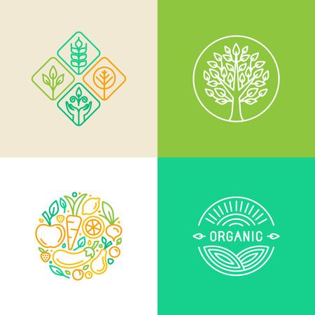 Ilustración de Vector linear logo design template and badges - organic food and farming - green and vegan food concepts - Imagen libre de derechos