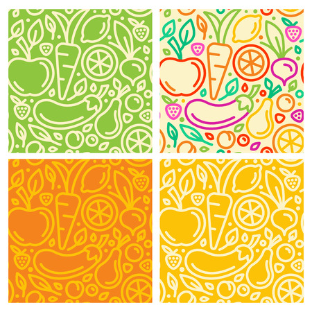Photo for Vector seamless patterns and abstract  backgrounds with trendy linear style - organic food and healthy products - Royalty Free Image