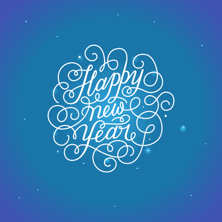 Illustration for Happy new year - greeting card with hand-lettering type in calligraphic style with linear swirls and flourishes - vector illustration in white colors on blue background - Royalty Free Image