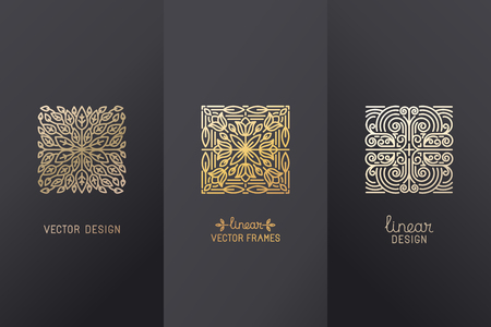 Illustration pour Vector set of linear design elements, logo design templates and mono line badges for packaging - abstract concepts for luxury products and services - emblems in golden foil style on  black background - image libre de droit