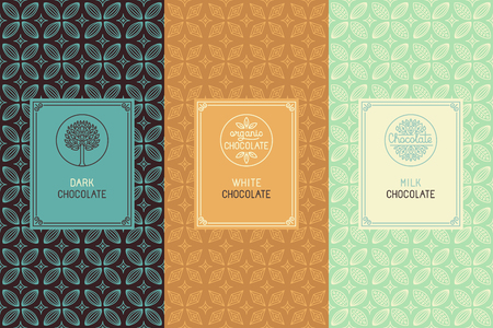 Illustration pour Vector set of design elements and seamless pattern for chocolate packaging - labels and background in tredny linear style - dark, white and milk chocolate - image libre de droit