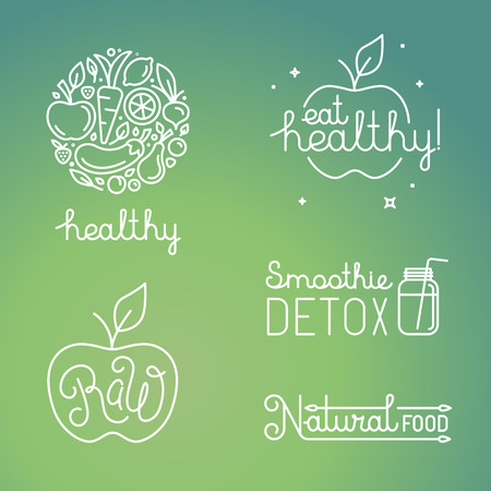 Foto per Vector healthy food and organic fruits concepts and logo design templates in trendy linear style - icons, signs and emblems related to vegan and raw organic food - Immagine Royalty Free