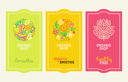 Illustration for Vector set of design elements, icons and hand-lettering in trendy linear style - logo design templates and concepts for packaging and labels for fresh juices, diet smoothie and healthy food - Royalty Free Image