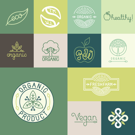 Illustration for Vector set of natural, organic, vegan badges and logo design templates in trendy linear and flat style - collection of design elements, icons and emblems for fresh and healthy products - Royalty Free Image