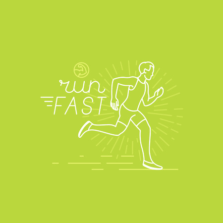 Vector running and sport motivation poster and banner in trendy linear style with hand-lettering text - run fast and illustration of a man