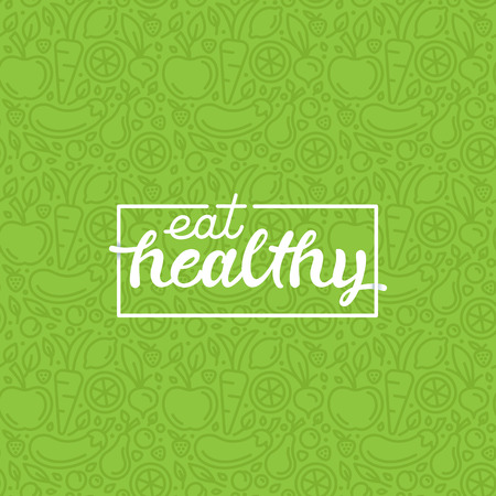 Foto de Eat healthy - motivational poster or banner with hand-lettering phrase eat healthy on green background with trendy linear icons and signs of fruits and vegetables - vector illustration - Imagen libre de derechos