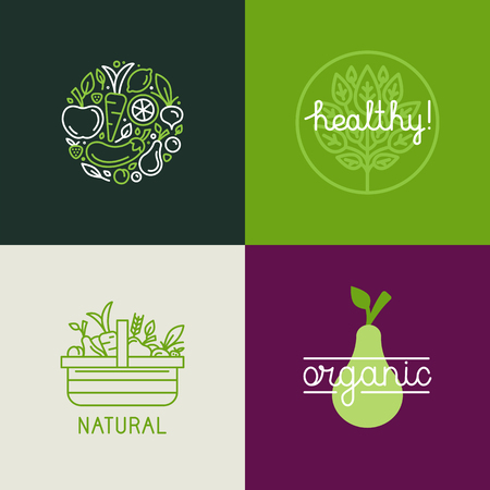Illustration pour Vector   design template with fruit and vegetable icons in trendy linear style - abstract emblem for organic shop, healthy food store or vegetarian cafe - image libre de droit