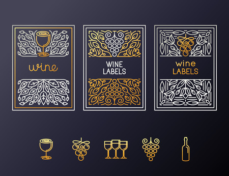 Illustration pour Vector set of design elements and icons for wine packaging and labels - icons and frames with copy space for text - image libre de droit