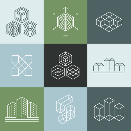 Illustration pour Vector set of design templates in trendy simple linear style - emblems and signs for architecture studios, object designers, new media artists and augmented reality start-ups - image libre de droit