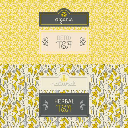 Ilustración de Vector set of design elements, labels and seamless pattern for packaging for herbal and detox tea - healthy and organic drinks concepts - Imagen libre de derechos