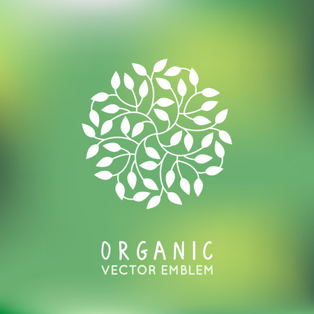 Illustration pour Vector organic and natural emblem and logo design template - green ecology concept or natural cosmetics - circle made with leaves - image libre de droit