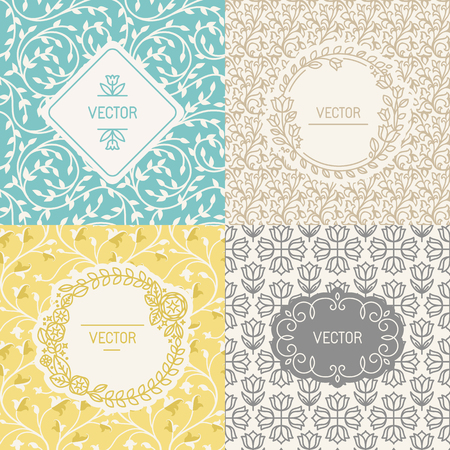 Illustration pour Vector set of design elements, borders and frames, seamless patterns for natural cosmetics packaging - abstract backgrounds with flowers and leaves - image libre de droit