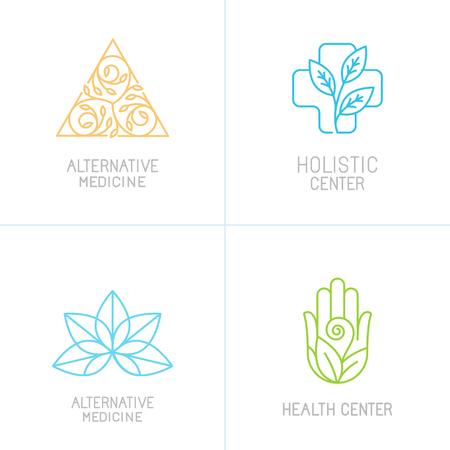 Ilustración de Vector concepts and logo design templates in trendy linear style - alternative medicine, health centers and holistic treatment icons - Imagen libre de derechos