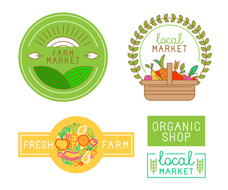 Photo for Vector logo design template with fruits and vegetable icons in trendy linear style - abstract emblem for organic shop, healthy food store or local farm market - Royalty Free Image
