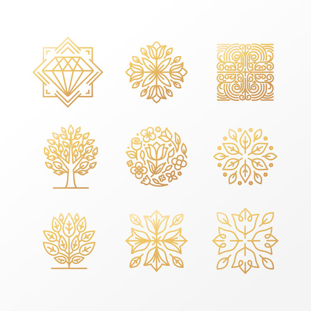 Illustration pour Vector set of abstract golden signs, symbols and logo design templates - luxury concepts and floral emblems in trendy linear style - image libre de droit