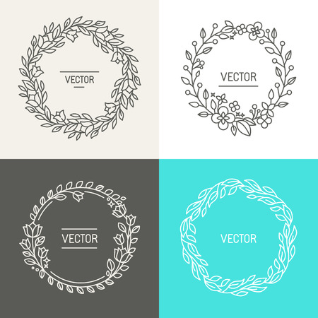 Ilustración de Vector abstract logo design templates with copy space for text in trendy linear style - set of floral wreaths and borders for packaging, cosmetics, invitations and banners - Imagen libre de derechos