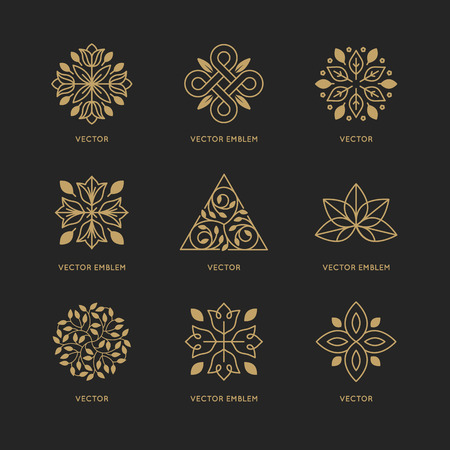 Illustration pour Vector set of design templates and emblems in trendy linear style in golden colors on black background - floral and natural cosmetics concepts and alternative medicine symbols - image libre de droit