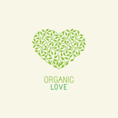 Ilustración de Vector organic and natural emblem and logo design template - green ecology concept or natural cosmetics - heart made with leaves - Imagen libre de derechos