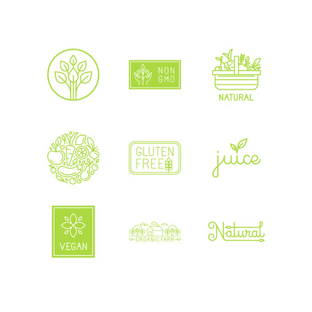 Photo for set of green and organic products labels and badges - collection of different icons and illustrations related to fresh and healthy food - Royalty Free Image