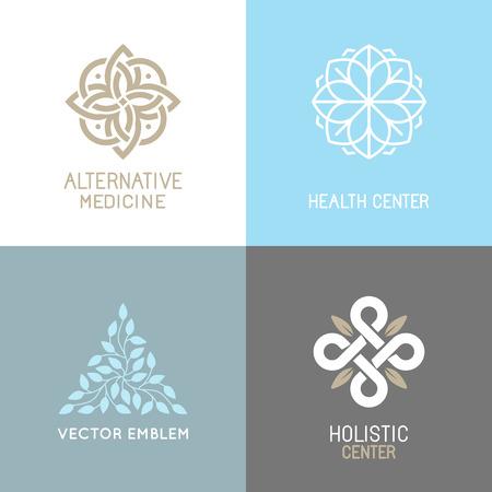 Ilustración de set of abstract - alternative medicine concepts and health centers insignias  - yoga spiritual emblems - Imagen libre de derechos