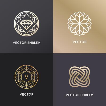 Ilustración de Vector  design templates and badges in trendy linear style - jewelry and luxury concepts - Imagen libre de derechos