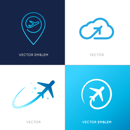 Foto de Vector logo design templates for airlines, airplane tickets, travel agencies - planes and emblems - Imagen libre de derechos