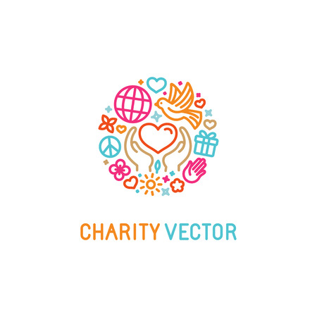 Illustration for Vector design template with icons in trendy linear style - charity concepts and volunteer organization emblem - love and care - Royalty Free Image