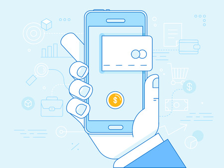 Illustration pour Vector flat linear illustration in blue colors - online mobile payment concept - hand holding mobile phone with credit card icon on the touchscreen - image libre de droit