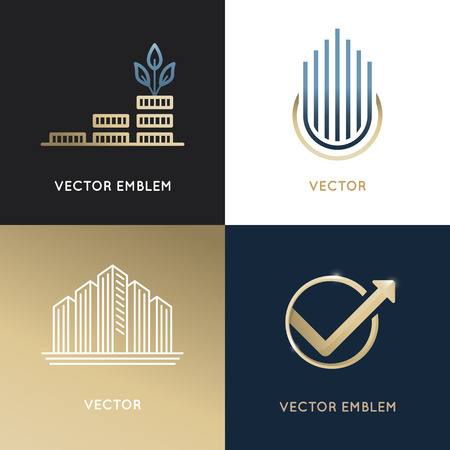 Ilustración de set of design templates and emblems - business and finance concepts - investment and global market trading signs and icons - Imagen libre de derechos
