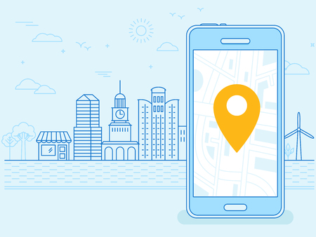 Illustration pour flat linear illustration in blue colors - screen of the mobile phone - gps searching point on the city map and city landscape in the background - image libre de droit