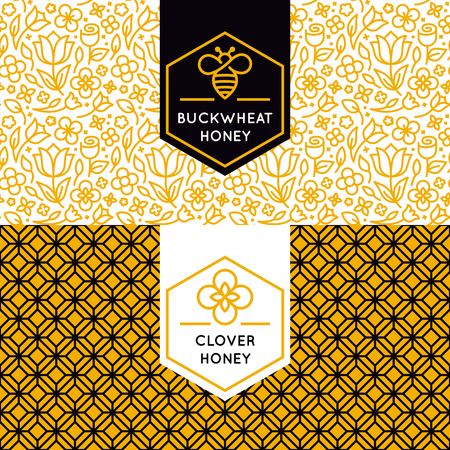 Illustration pour packaging design templates in trendy linear style - natural and farm honey packaging - labels and tags with floral seamless patterns - image libre de droit